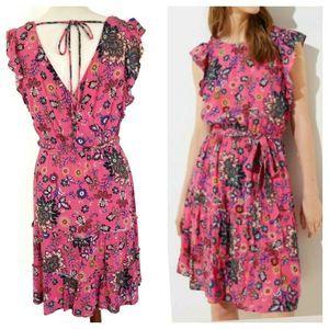 LOFT Pink Mixed Floral Flutter Peasant Dress M